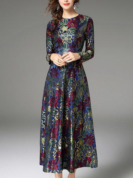Floral Elegant Long Sleeve Midi Dress