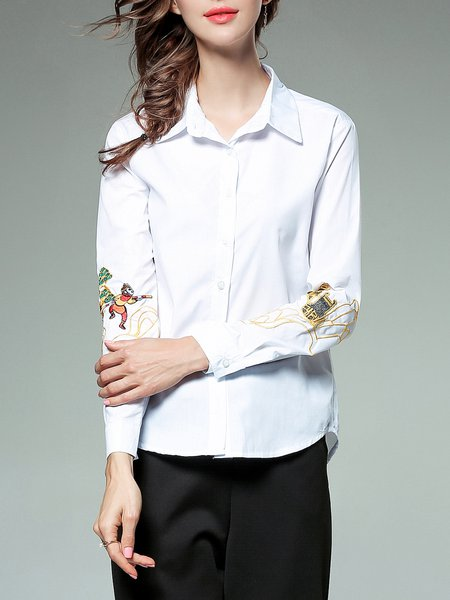 White Shirt Collar H-line Graphic Long Sleeve Blouse