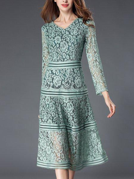 Mint Guipure Lace V Neck A-line Long Sleeve Midi Dress