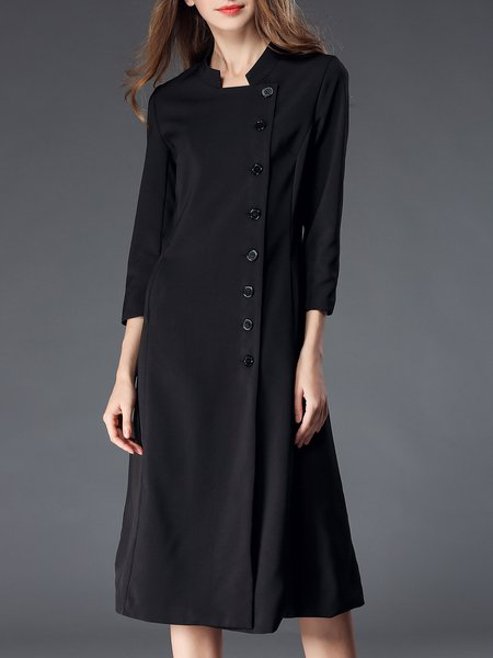 Stand Collar Solid Long Sleeve Casual Midi Dress
