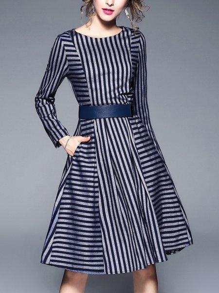 Dark Blue Long Sleeve Bateau/boat Neck Paneled Midi Dress