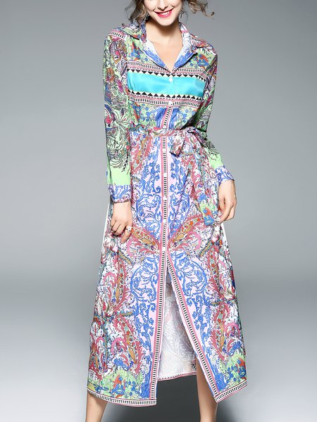 Multicolor Shirt Collar Bell Sleeve Boho Dress