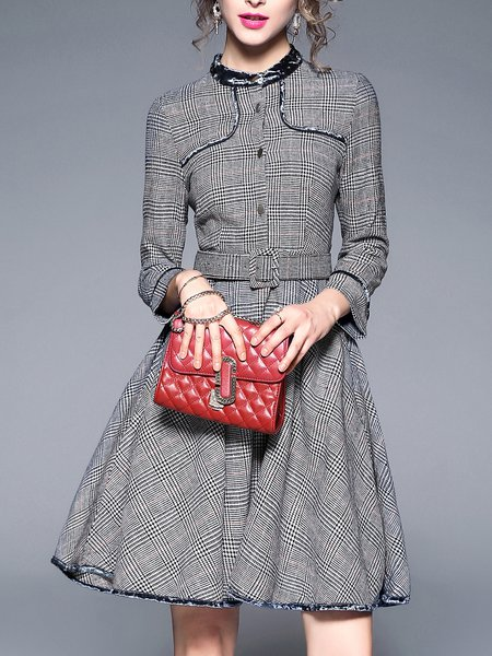 Gray Checkered/Plaid Casual Stand Collar Midi Dress
