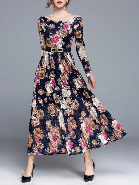 Long Sleeve A-line Floral Maxi Dress