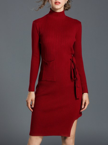 Knitted Casual Solid Long Sleeve Sheath Sweater Dress