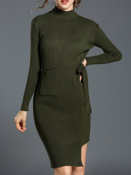 Knitted Sheath Casual Long Sleeve Sweater Dress