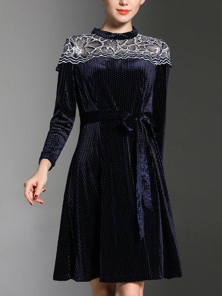 Navy Blue Long Sleeve Velvet A-line Stand Collar Midi Dress