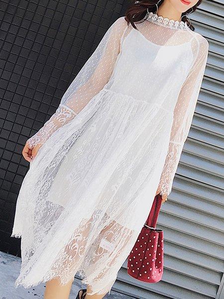 Guipure Lace Casual Long Sleeve Midi Dress