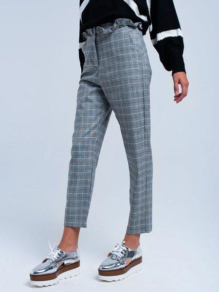 Gray Casual Ruffled Straight Leg Pants