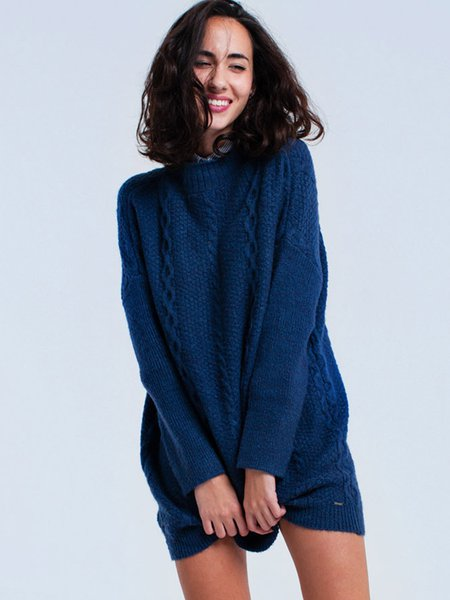 Navy Blue Long Sleeve Cable Mohair Sweater Dress - StyleWe.com