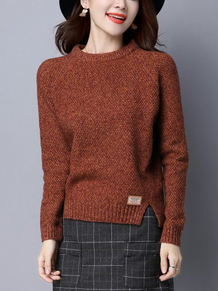 Knitted Casual Slit Long Sleeve Sweater