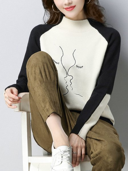 Casual Color-block Stand Collar Long Sleeve Sweater