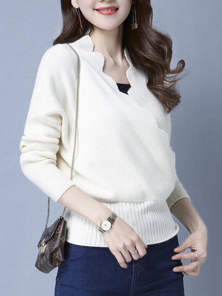Casual Solid Surplice Neck Long Sleeve Sweater