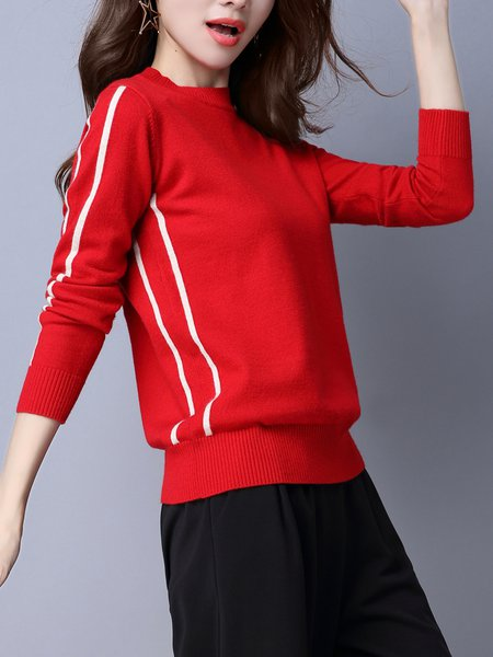 Knitted Long Sleeve Casual Crew Neck Sweater