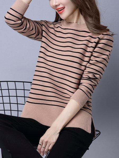 Khaki Crew Neck Knitted Long Sleeve Slit Sweater
