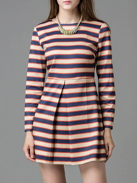 Multicolor Crew Neck A-line Long Sleeve Stripes Mini Dress
