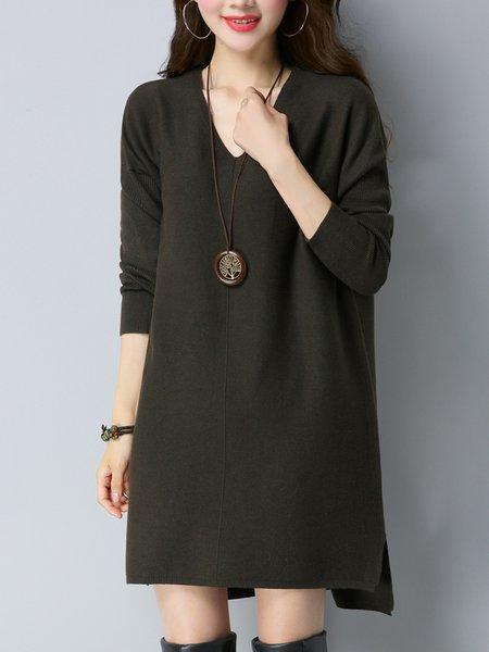 Long Sleeve Casual Asymmetric Solid Midi Dress