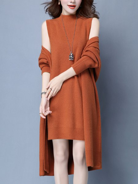 Long Sleeve Casual Knitted Dress With Coat