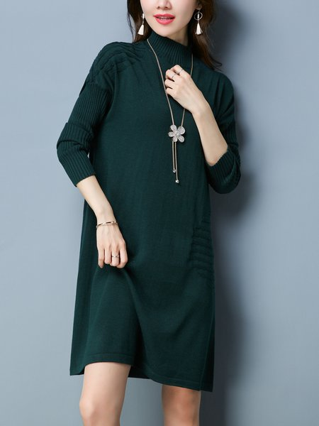 Dark Green H-line Solid Long Sleeve Turtleneck Sweater Dress