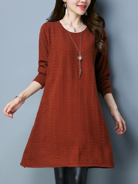Knitted A-line Casual Solid Long Sleeve Sweater Dress