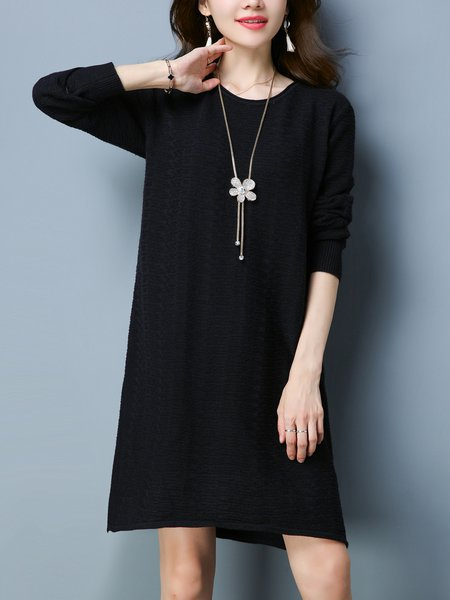 Black Knitted Crew Neck Long Sleeve Solid Sweater Dress