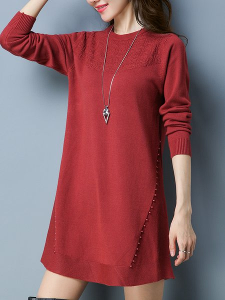 Plus Size Long Sleeve Beaded Casual Crew Neck Solid Sweater Dress