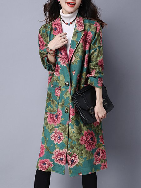 Green Casual Floral Outerwear