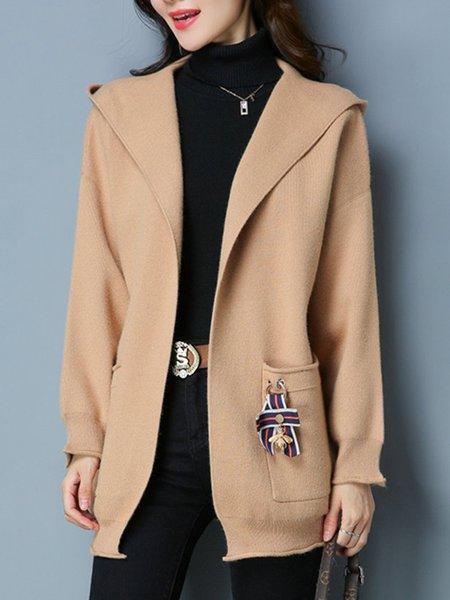 Pockets Solid Hoodie Casual Long Sleeve Cardigan