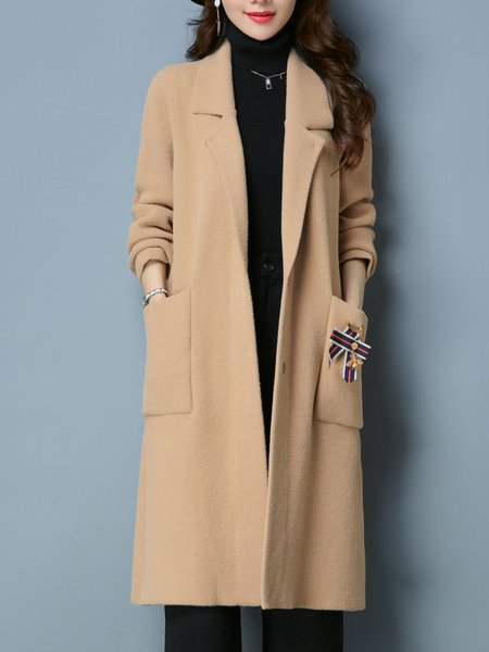 Plus Size Long Sleeve H-line Knitted Casual Pockets Coat