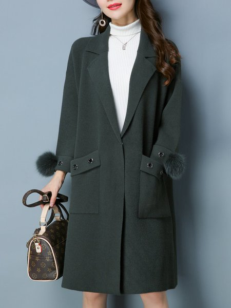 Long Sleeve Fluffy Knitted H-line Casual Coat