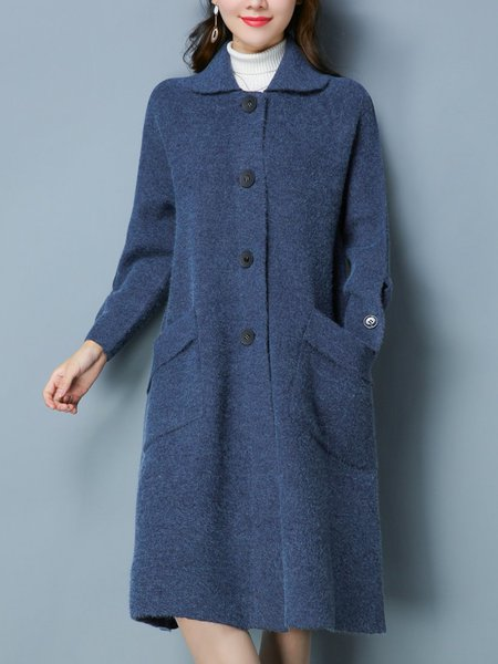 Shawl Collar Long Sleeve Solid Knitted Casual Coat