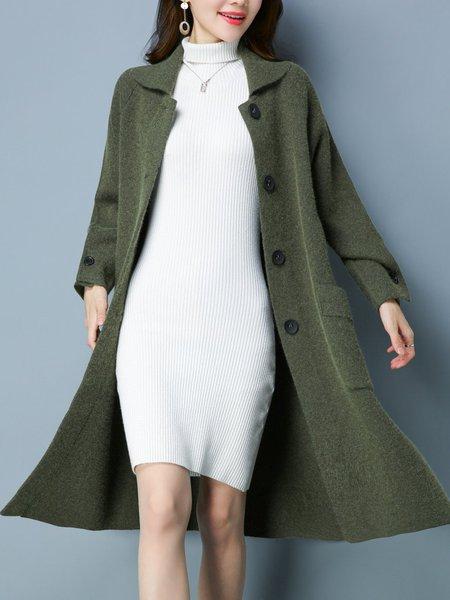 Pockets Casual Shawl Collar Long Sleeve Coat