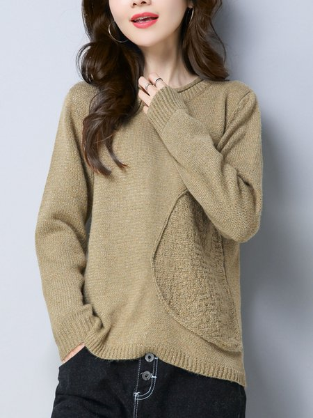 Solid Casual Knitted Crew Neck Sweater
