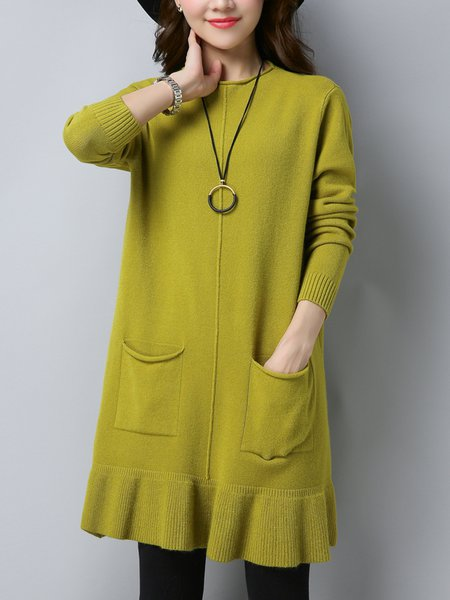 Solid Long Sleeve Casual Ruffled Sweater Dress