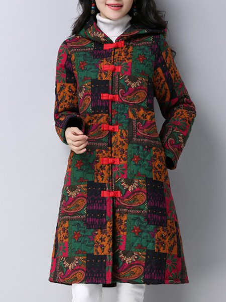 Long Sleeve Printed Casual Floral Linen Outerwear