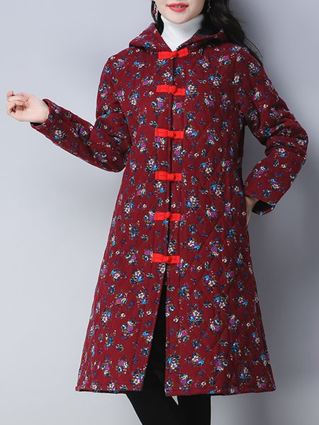 Printed Long Sleeve Casual Linen Outerwear