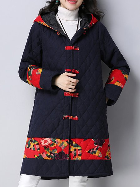 Floral-print Long Sleeve Casual Hoodie Linen Outerwear