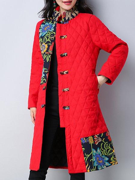 Long Sleeve Stand Collar Cotton A-line Casual Linen Outerwear