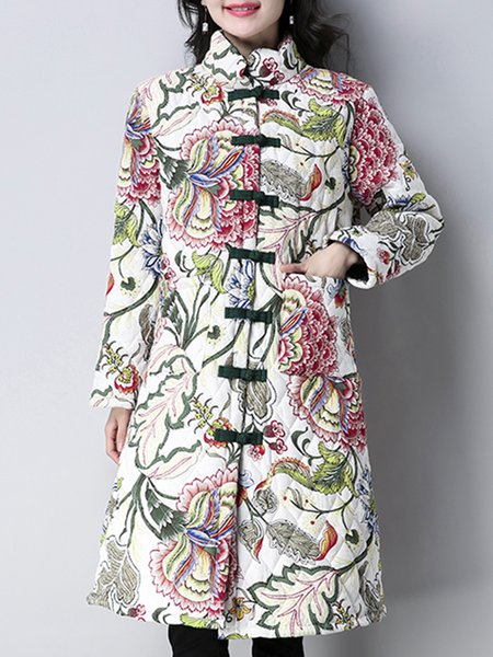 Casual Printed Cotton Floral Long Sleeve Linen Outerwear