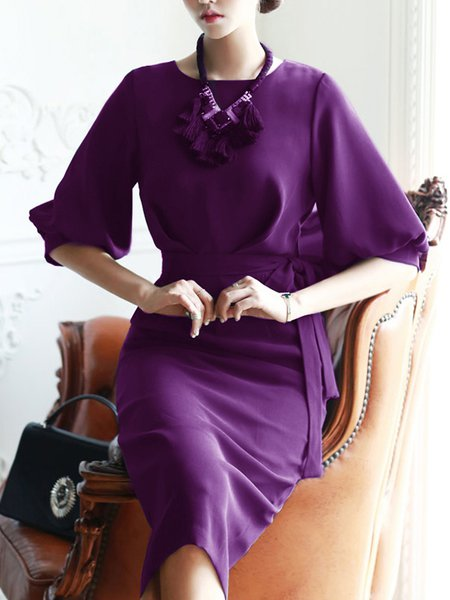Purple Half Sleeve Slit Solid Sheath Midi Dress