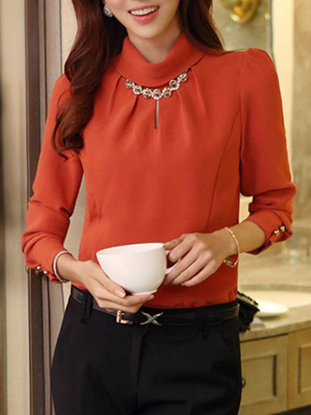 Long Sleeve Simple Cutout Stand Collar Solid Blouse
