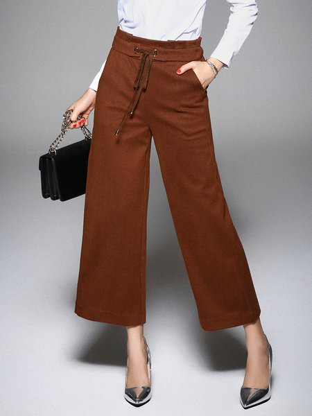 Solid Simple Wide Leg Pants