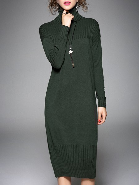 Casual Turtleneck Knitted Long Sleeve Shift Midi Dress