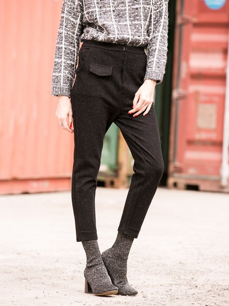 Black Casual Pockets Cotton Straight Leg Pants
