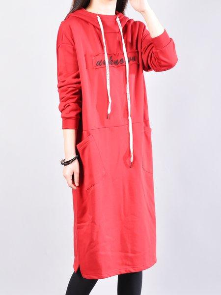Plus Size H-line Pockets Long Sleeve Hoodie Casual Dress