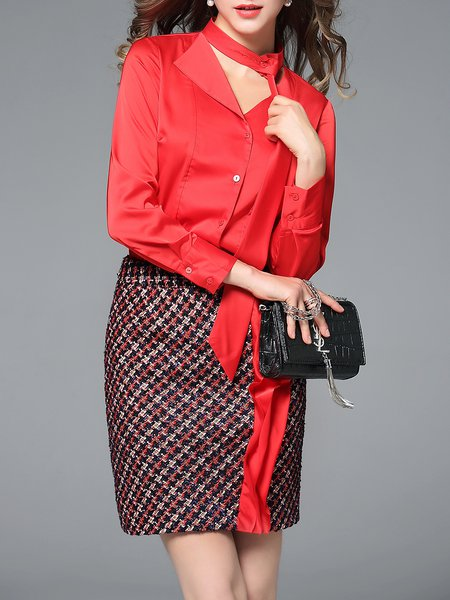 Paneled Houndstooth Long Sleeve Two Piece Casual Top With Skirt