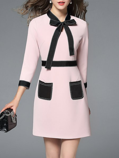 Pink 3/4 Sleeve Paneled Midi Dress