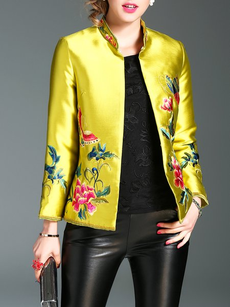 Embroidered Long Sleeve Casual Floral Coat