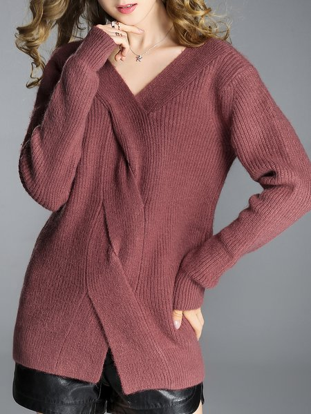 Casual Solid V Neck Long Sleeve Sweater