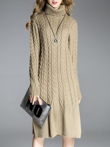 Slit Solid Long Sleeve Knitted Casual Sweater Dress